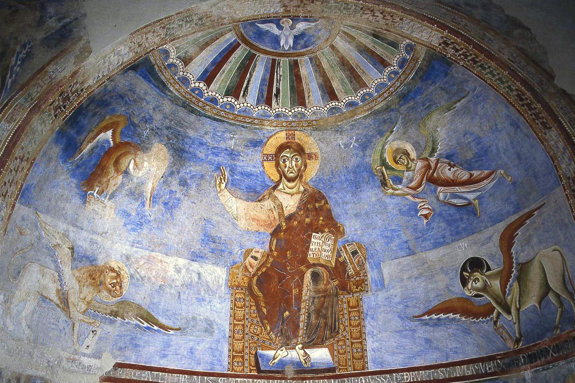 Detail of the fresco decoration of the apse with the enthroned Christ and the symbols of the four Evangelists. – © Caserta Royal Palace Archive