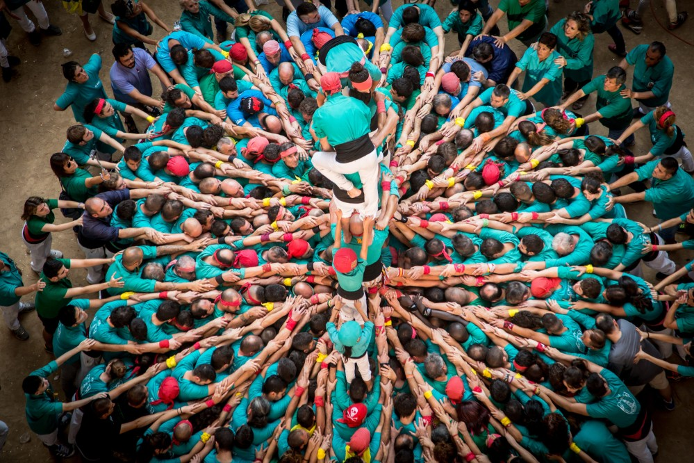The castells are human towers formed by huge groups of people and can reach up to ten levels in height and are were inscribed on the Representative List of the Intangible Cultural Heritage of Humanity in 2010. – © David Oliete