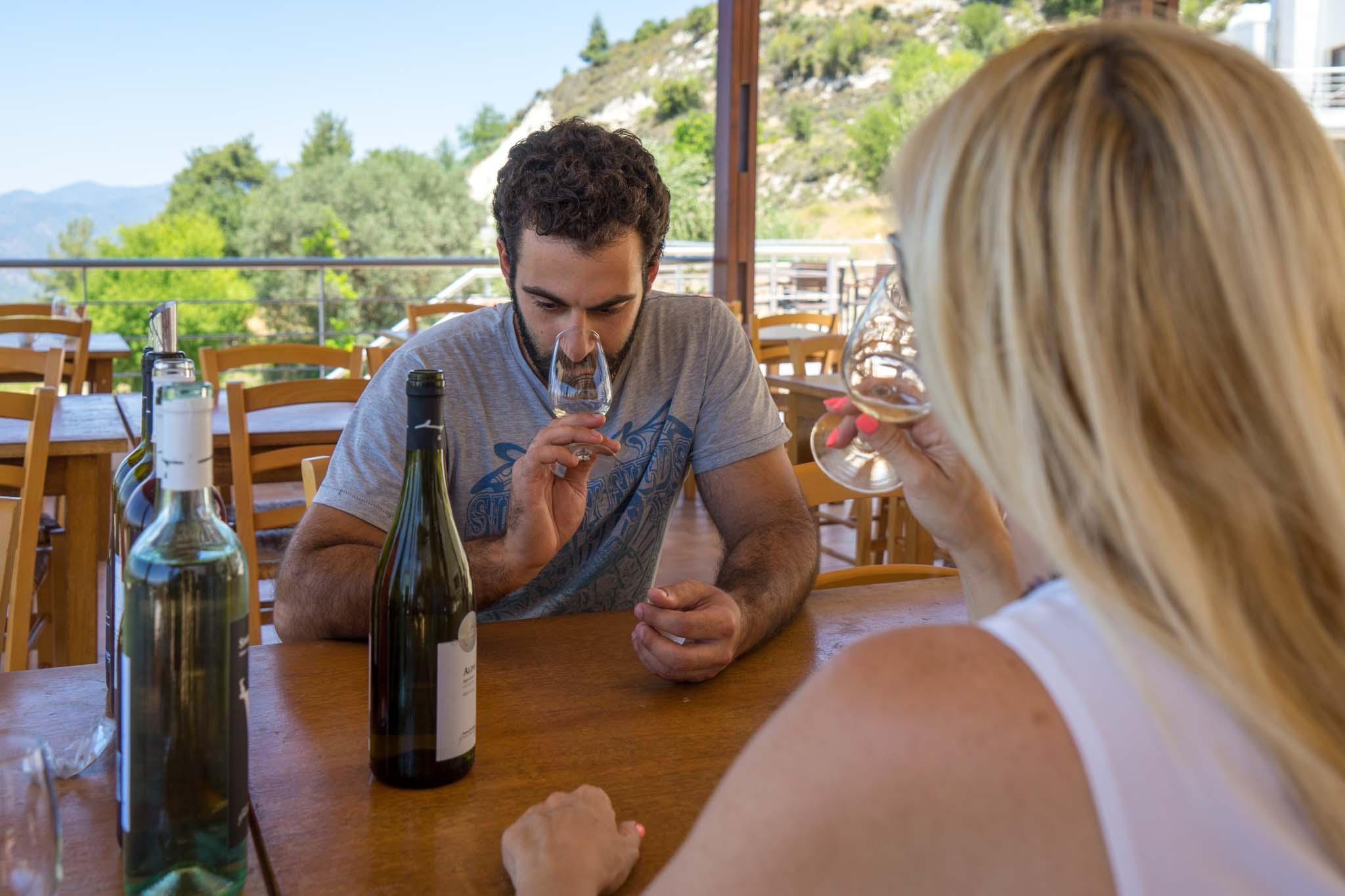Wine tasting at the Vouni Panagia winery. – © Michael Turtle