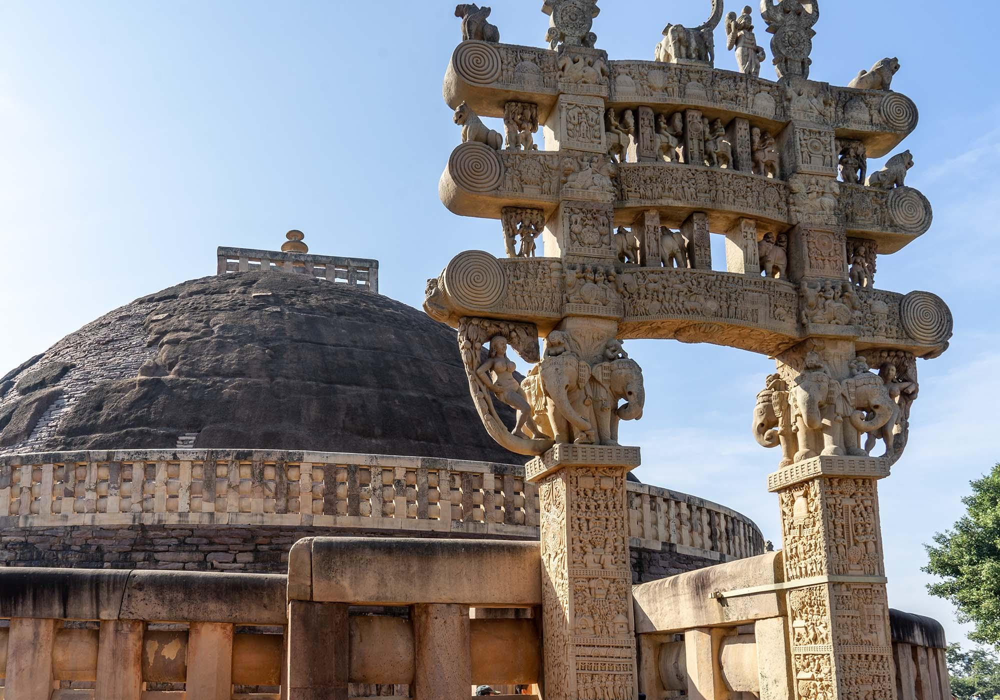 One of the four gateways that sit at the cardinal points around the Great Stupa of Sanchi and have the intricate carvings on the architraves. – © Michael Turtle