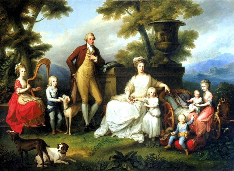 The Royal Family of Naples—Bourbon King Ferdinando IV and Queen Maria Carolina and their children. – By Angelica Kauffmann (1782)