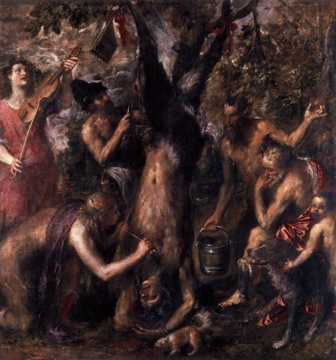 The Flaying of Marsyas, one of Titian's last works (1570's) illustrates Ovid's myth of the satyr Marsyas being skinned alive by the god Apollo after unsuccessfully challenging him to a musical battle. – Archidiocese Olomouc, Archiepiscopal Palace, Picture Gallery
