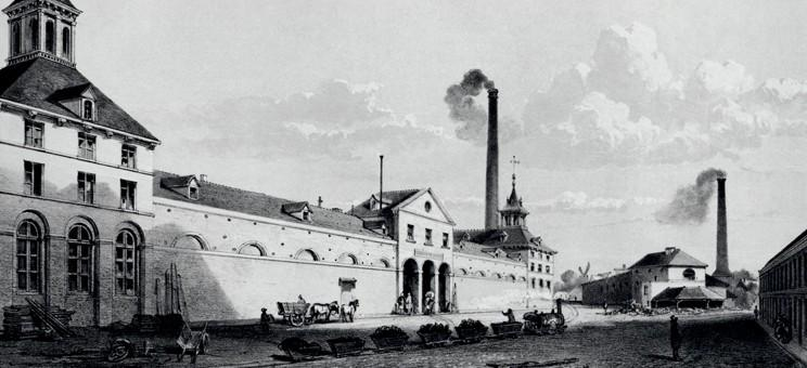 Engraving of Grand Hornu colliery by Edwin Toovey (1852)