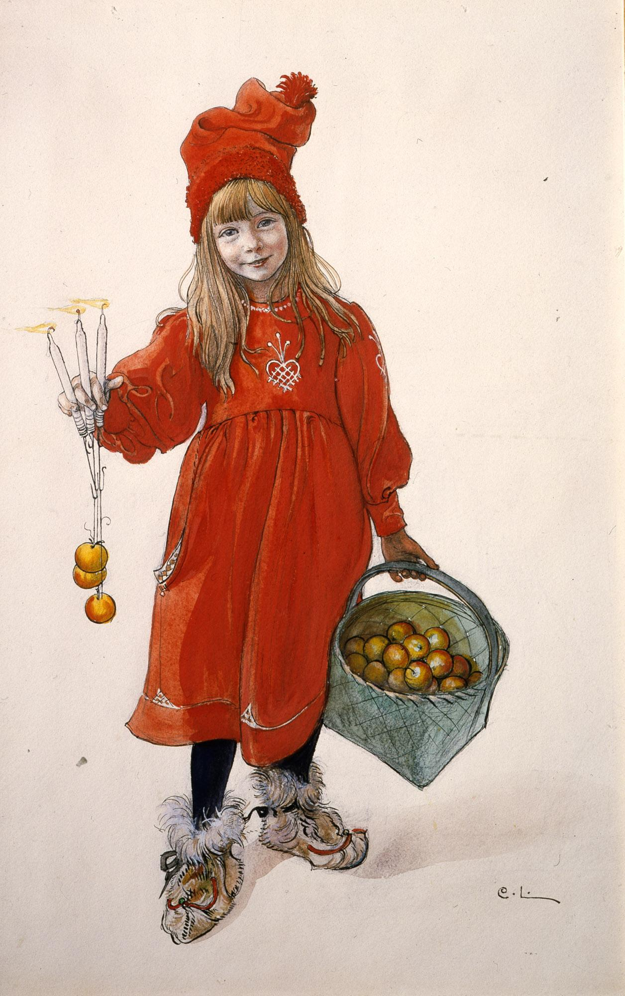 "The watercolour painting ""Brita as Idun,"" which Carl Larsson painted 1900, was a cover for the magazine Idun's Christmas addition 1901. – © Carl Larsson-gården"