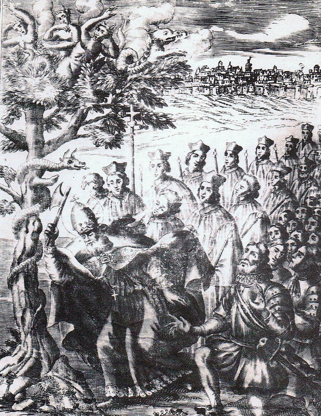 San Barbato knocks down the walnut (18th century Benevento engraving)