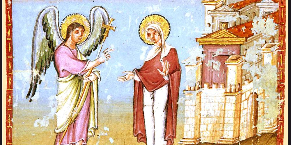 The archangel Gabriel delivers the news to the virgin Maria that she will receive a son. – © Stadtbibliothek Weberbach
