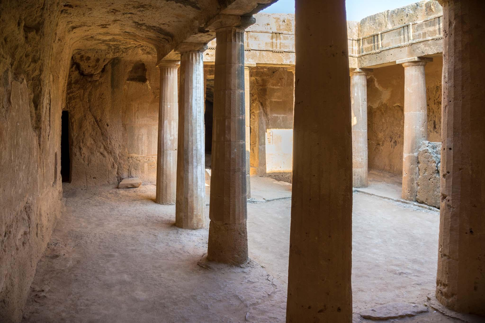 The tombs were designed with a central courtyard and rooms off to each side. Multiple people would be buried in the same tomb. – © Michael Turtle