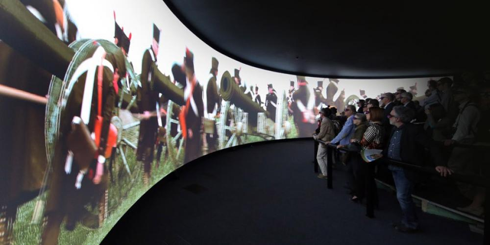 The Battle of 1812 Memorial's 4D show on a giant panoramic screen is unique in Europe. – © CGT-A. Siquet