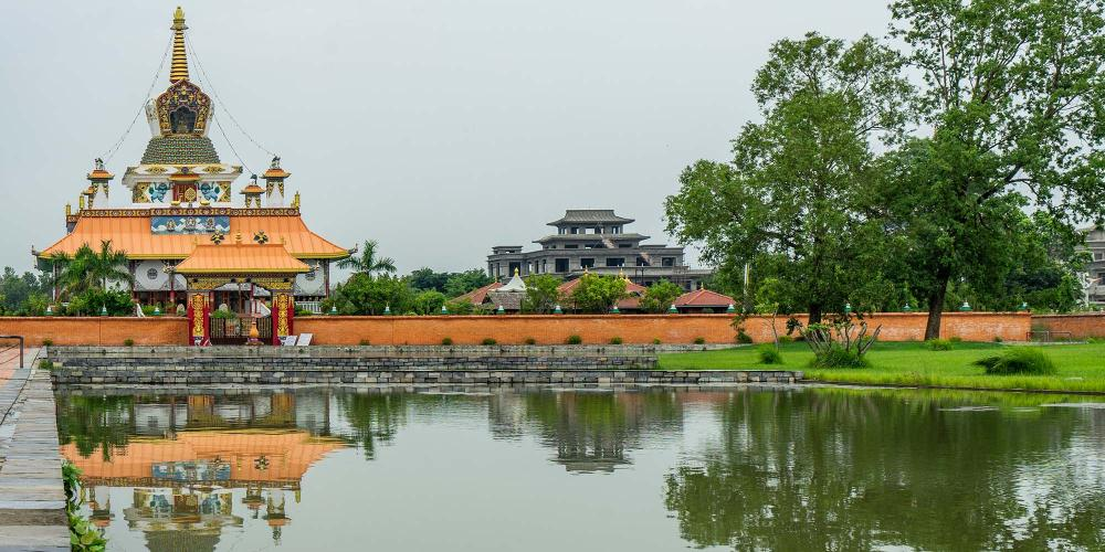 The Great Lotus Stupa in the West Monastic Zone was sponsored by Germany and is beautifully decorated inside. – © Michael Turtle