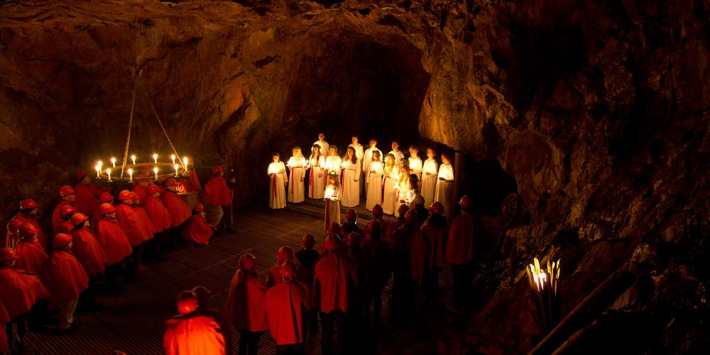 55 metres underground in Falun Mine, Lucia and her maids give a traditional performance every year on December 13th. – © Björn Carlander