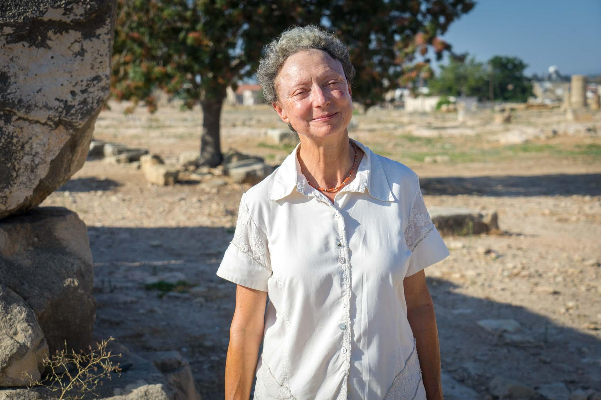 Professor Maria Iacovou, from the University of Cyprus, at the Sanctuary of Aphrodite. – © Michael Turtle