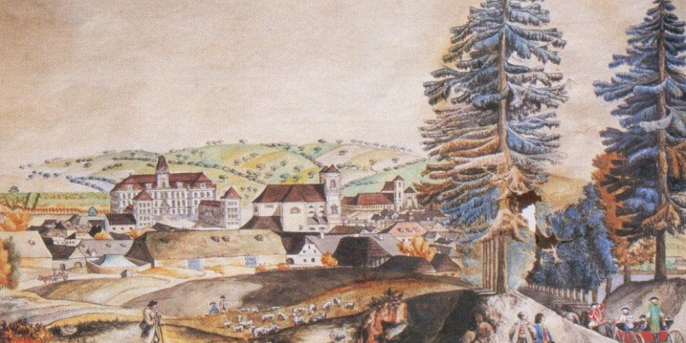 Colored J.J. Müller painting of view at Valtice in year 1795. – © Archive of Valtice Castle