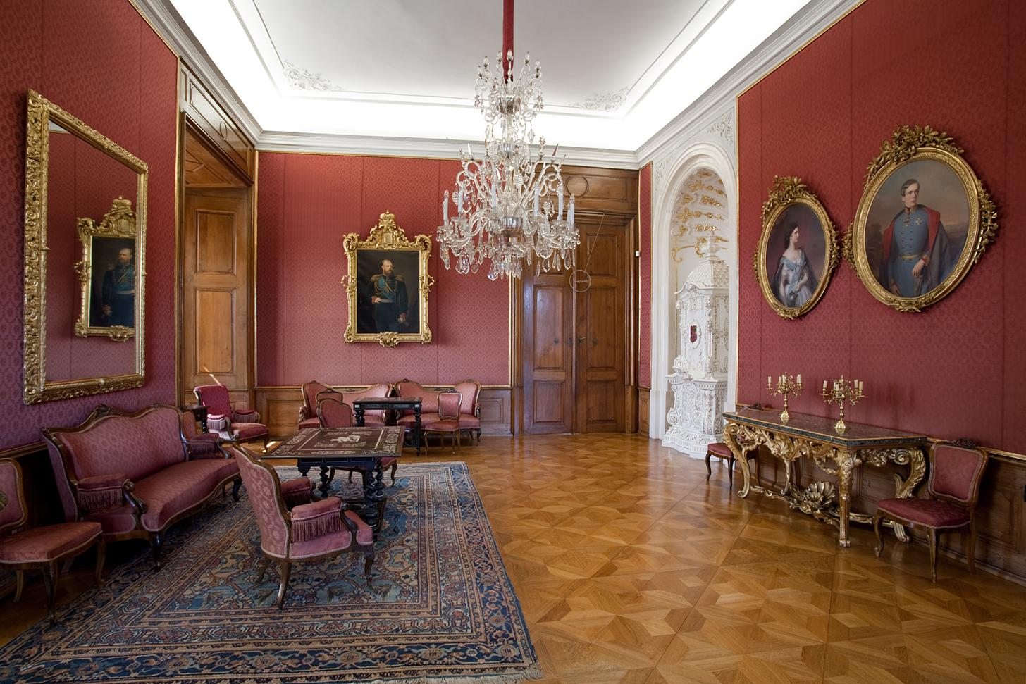 The Czar Salon is reminding honoured guests of the Castle in 1885, portrait of Czar Alexander III and wedding portraits of Emperor Franz Joseph II and his beuatiful wife Elisabeth called Sissi. On their wedding portraits they are 23 and 16 years old. When they visited Kroměříž they were, however much older. - © Tomas Vrtal