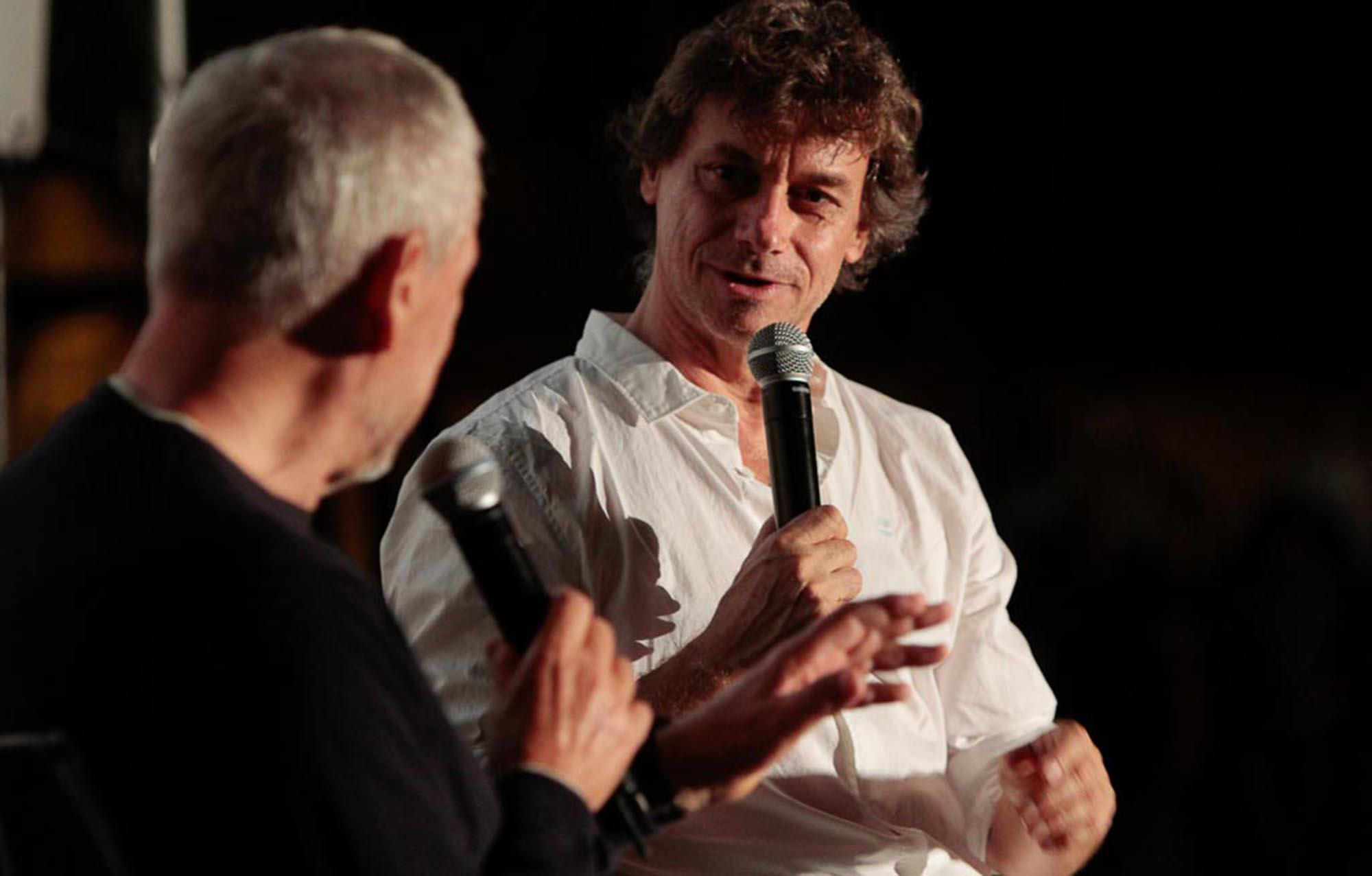 Alberto Angela interviewed by Piero Pruneti, the director of Archeologia Viva, on the stage of the Aquileia Film Festival. – © Massimo Goina