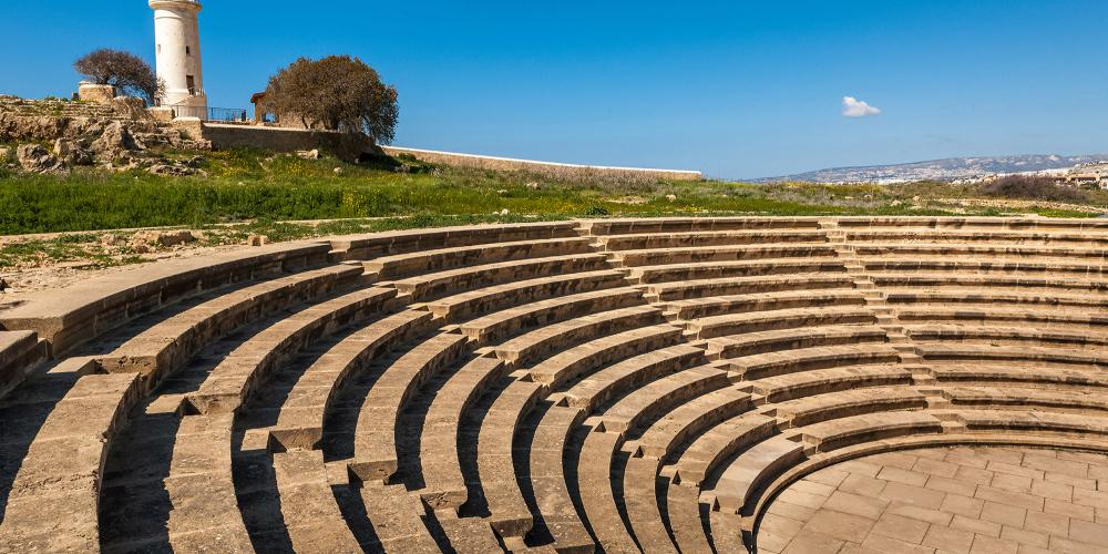 Ancient amphitheater in archaeological park in Pafos Cyprus – © Alfiya Safuanova /Shutterstock