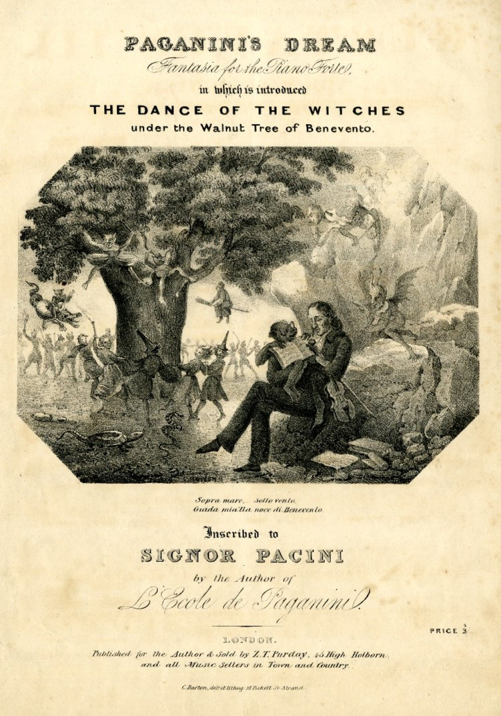 Paganini's Dream, fantasia for the Piano-Forte, in which is introduced The Dance of the Witches under the Walnut Tree of Benevento. Song sheet title by composer Niccolò Paganini (printed 1830-1835) – The Trustees of the British Museum
