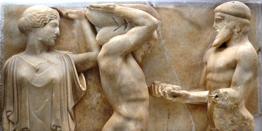 The metope of the Apples of Hesperides from the sculpted decoration of the temple of Zeus depicts one of the twelve labours of Heracles . – © Hellenic Ministry of Culture and Sports / Ephorate of Antiquities of Ilia