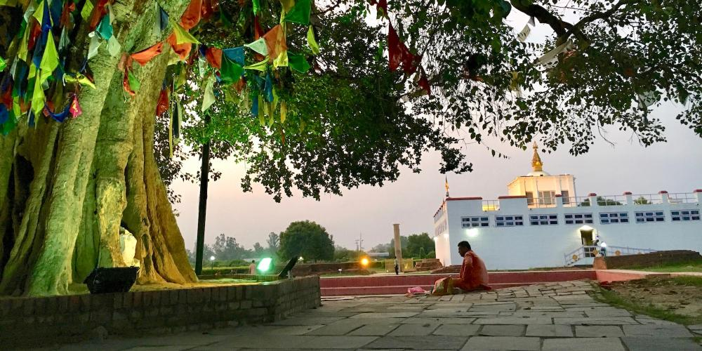 While Lumbini is a focal point for Buddhist pilgrims, visitors with a variety of faiths and beliefs come for a spiritual experience. – © Frank Biasi