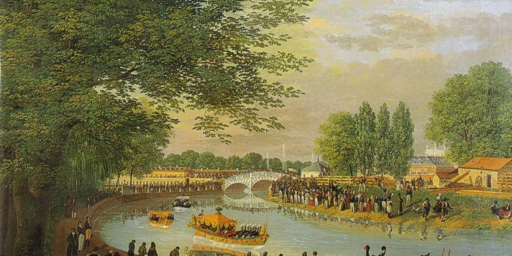 View of the Puente de Barcas bridge and the Royal Falúa, by Brambila, Fernando (1830)