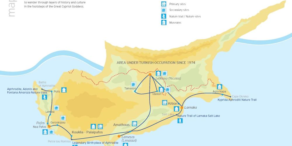 Aphrodite's Cultural Route map – © Cyprus Tourism Organisation