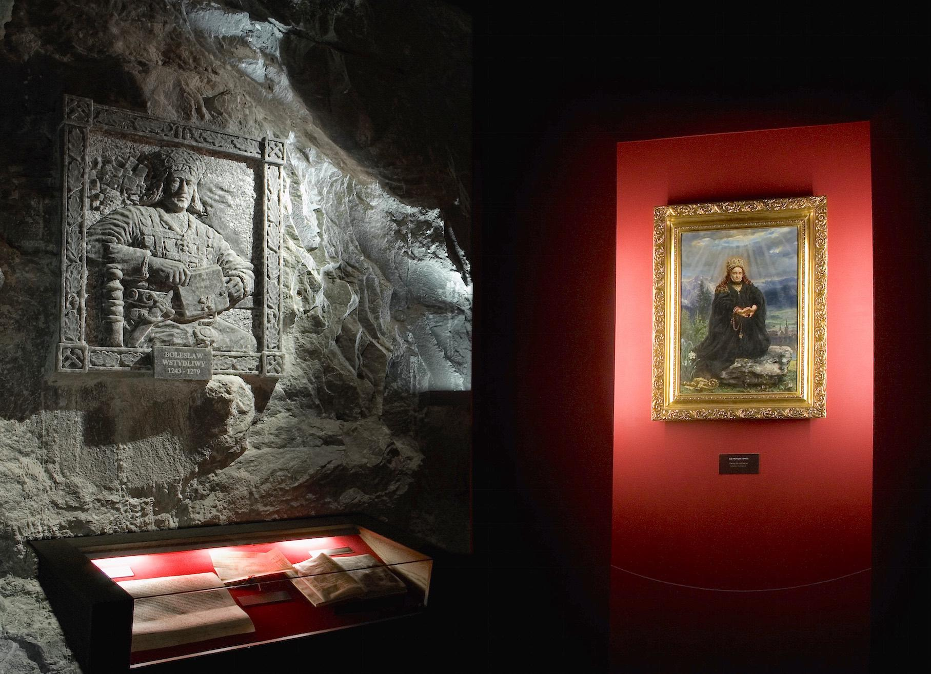 Image of St. Kinga painted by Jan Matejko, a renowned Polish painter, and a bas-relief sculpture of her husband, Duke Boleslaus, are presented in the Saltworks Museum in Wieliczka Salt Mine. – © Artur Grzybowski