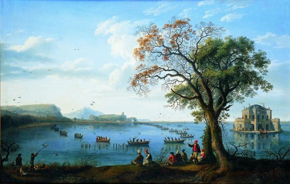 King Ferdinand IV of Bourbon hunting coots at Lake Fusaro, overlooking Casina Vanvitelliana. – Painting by Jakob Philipp Hackert (1783) / Museum of Capodimonte, Naples