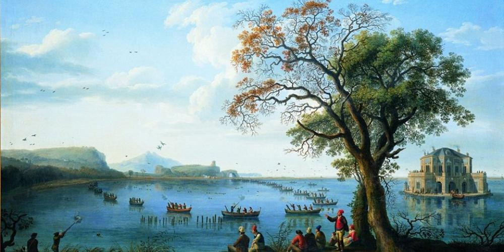 King Ferdinand IV of Bourbon hunting coots at Lake Fusaro, overlooking Casina Vanvitelliana. – Painting by Jakob Philipp Hackert (1783) / Museum of Capodimonte, Naples