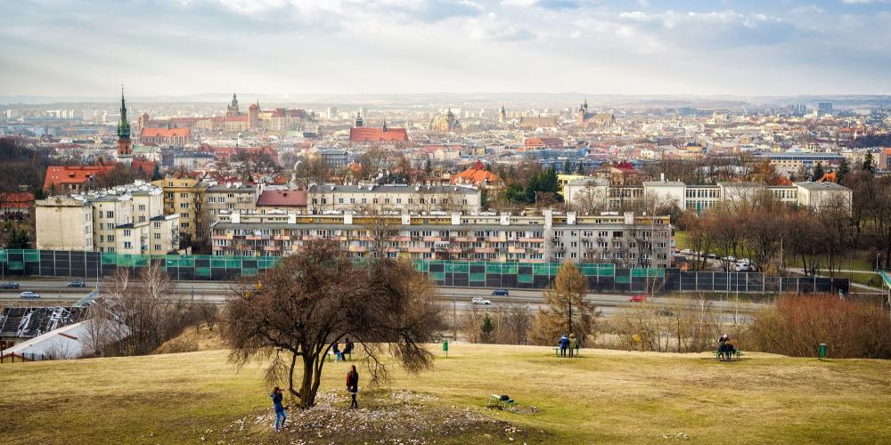 """Krakus Mound is a great place for recreation and leisure. Public events are also held here, including the """"Feast of Rękawka"""", right after Easter, featuring shows of fencing and traditional handicrafts. – © Sopotnicki / Shutterstock"""