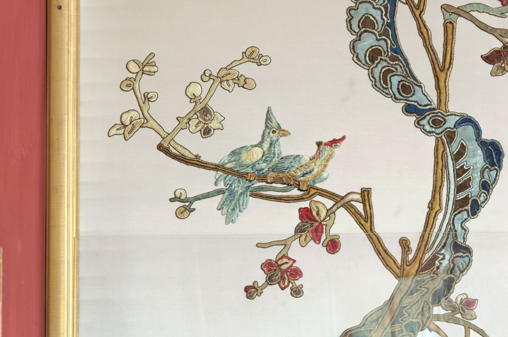 The Pavilion holds hand-painted paper and silk wall hangings, porcelain, lacquer screens, and other decorative objects imported from China