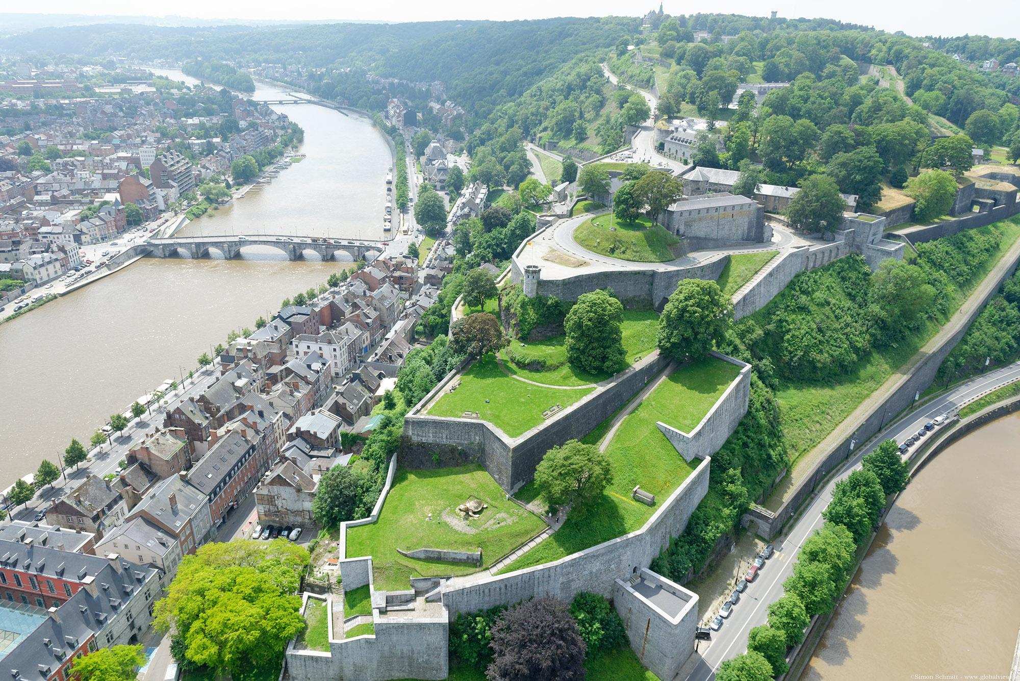 An aerial view of the Citadel of Namur, taken at the confluence of the Sambre and the Meuse.