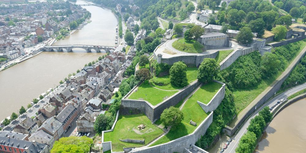 An aerial view of the Citadel of Namur, taken at the confluence of the Sambre and the Meuse. – © Simon Schmitt