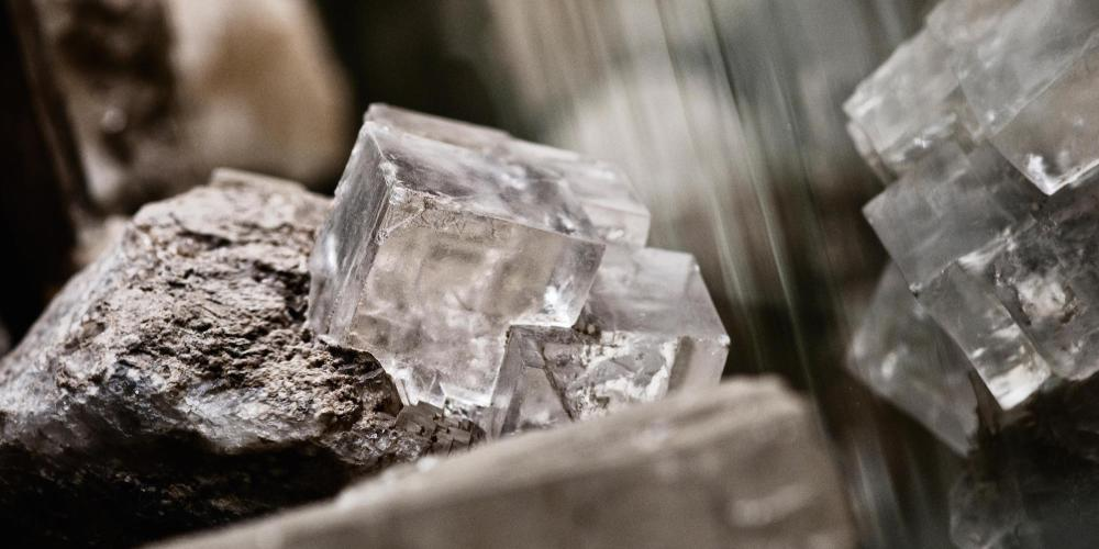 Halite crystal from the Wieliczka Salt Mine. The name derives from Greek words halos - salt, salty and lithos - rock. Mineral indispensable for human life. – © Aleksandra Zapolska