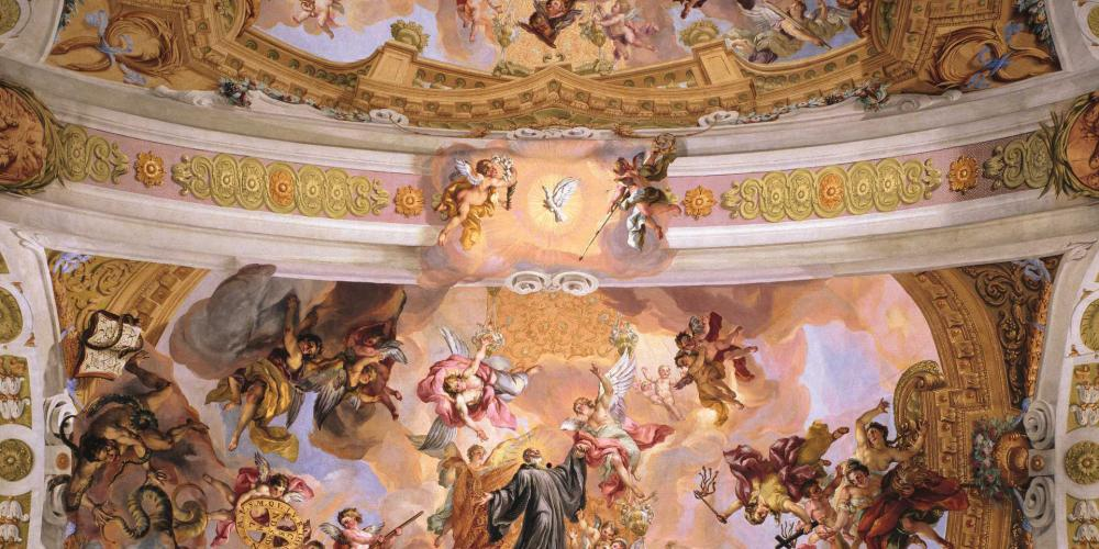 The frescoes along with the whole interior of the Melk Abbey church is an outstanding example of high Baroque style. – © Augustin Baumgartner / Stift Melk