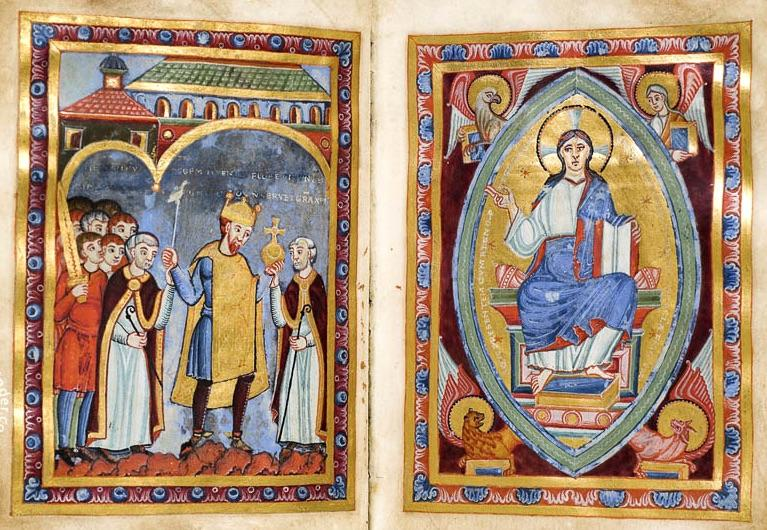 "Henry being coronated in the illuminated manuscript ""Gospel of Emperor Henry III"""