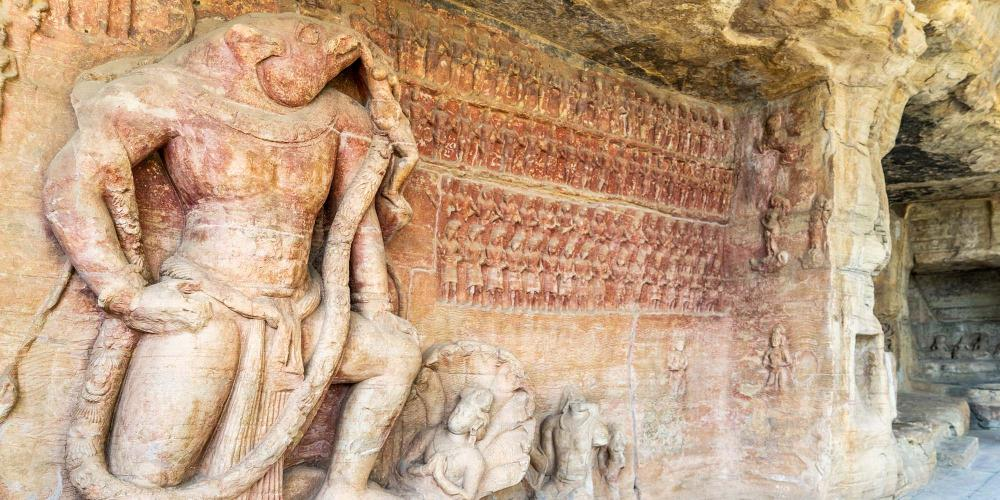 Near Sanchi are the Udaigiri Caves, which were carved and decorated by Hindu and Jaina worshippers in the 4th-5th centuries. – © Michael Turtle