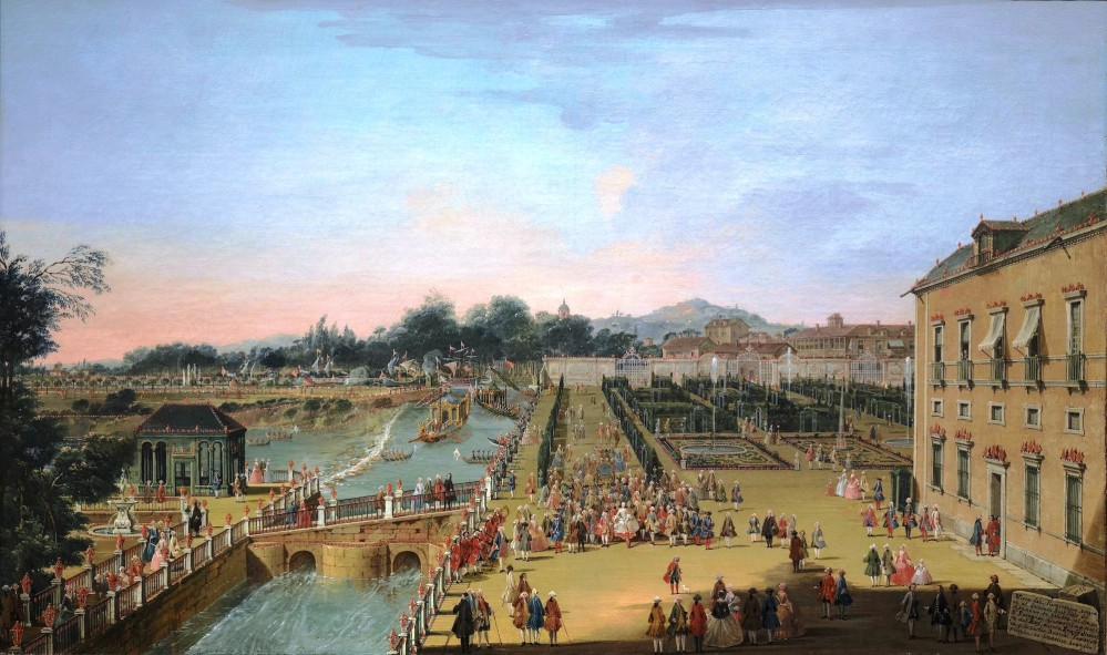 King Ferdinand VI of Spain and Queen Barbara of Bragança, his wife, in the gardens of the Royal Palace of Aranjuez, by Francesco Battaglioli (1756). – © Museo del Prado