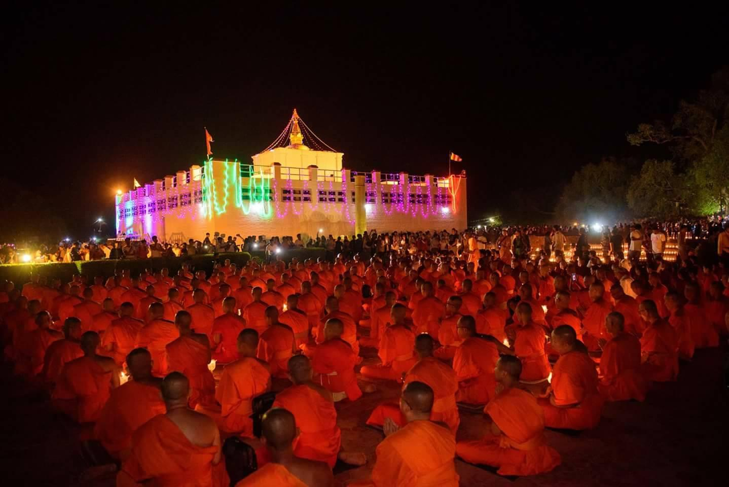Nighttime Buddhist prayers at Maya Devi Temple, the Birthplace of Lord Buddha, in Lumbini, Nepal – © Bodhi Institute