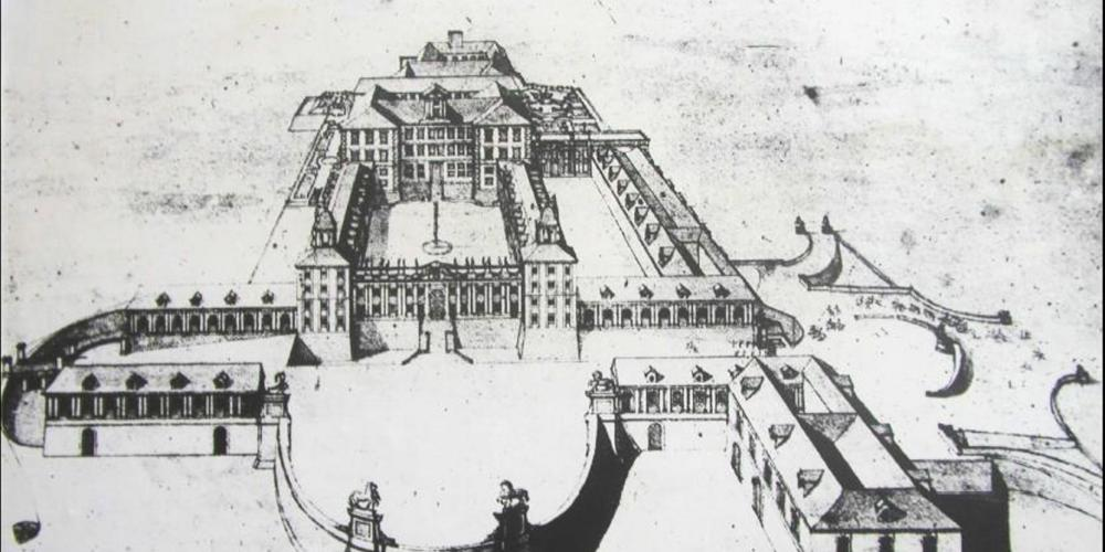 Valtice Castle on J. A. Delsenbach painting in year 1721 as a monumental Baroque noble residence. – © Archive of Valtice Castle