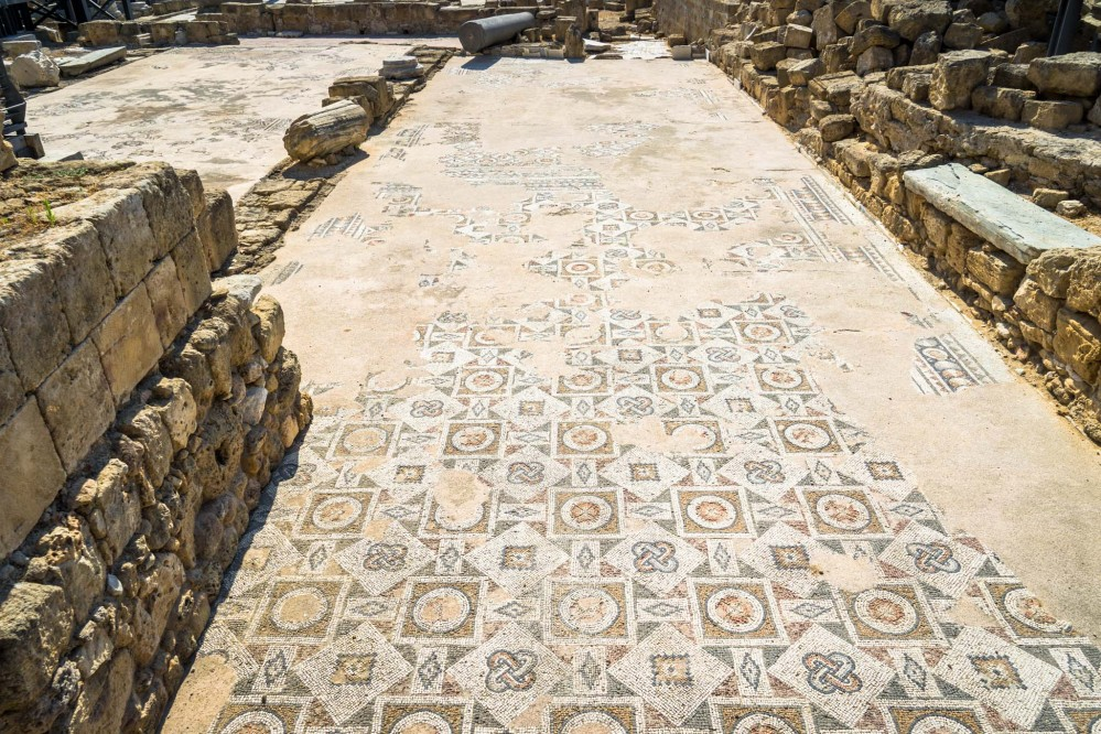 The floor of the basilica was covered with colourful mosaics, some of which are still preserved. – © Michael Turtle