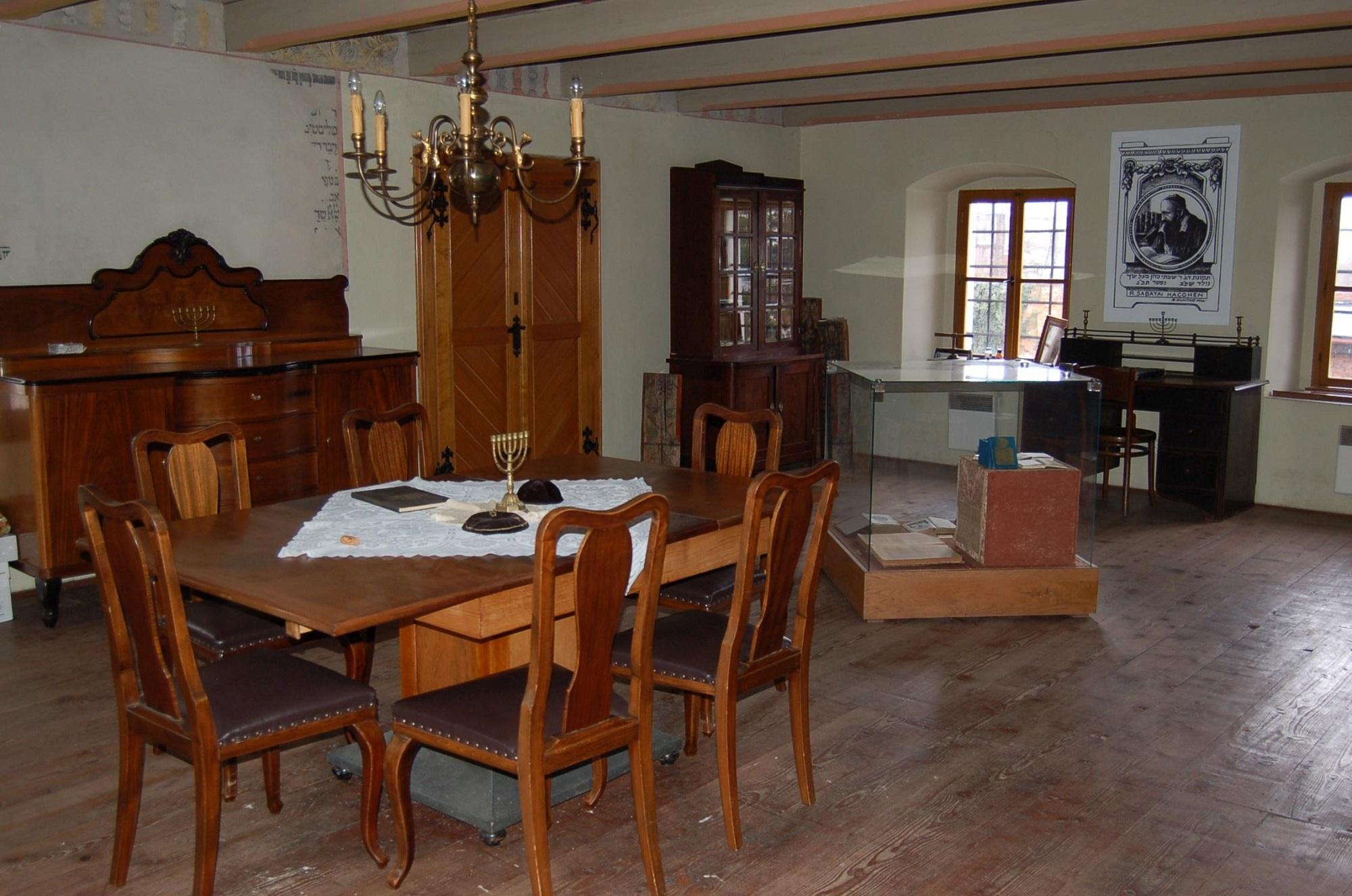 The study room on the first floor of the Shakh's synagogue in Holešov with some of the books written by Rabbi Shakh. – © Archive of the Shakh's synagogue