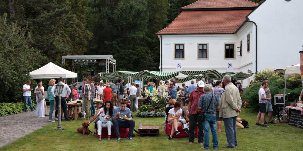 The festival begins with a meeting of Erdőbénye winemakers for a tasting and concert in the splendid garden of Budaházy-Fekete mansion. – © Zsolt Szentirmai