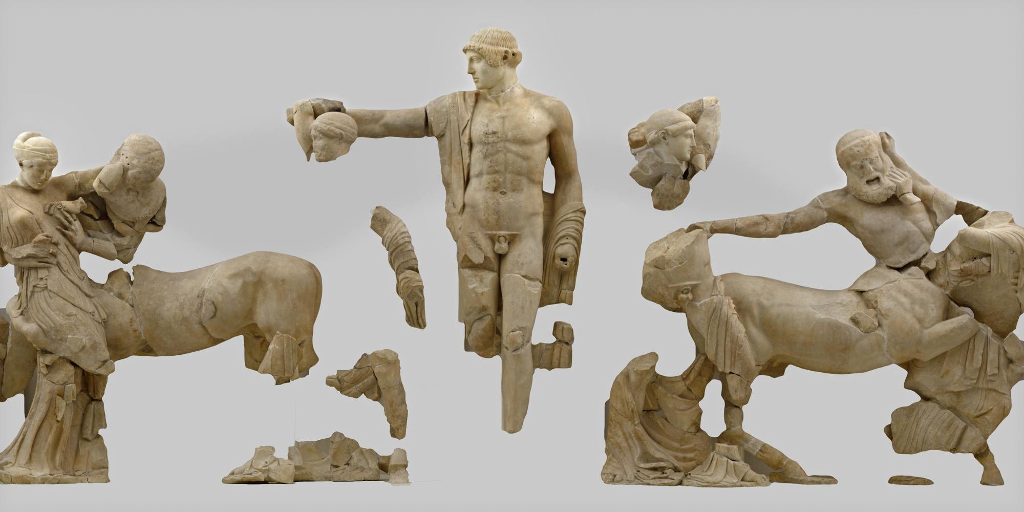 The western pediment of the Temple of Zeus represents the battle between Centaurs and Lapiths. – © Hellenic Ministry of Culture and Sports / Ephorate of Antiquities of Ilia (efailias)