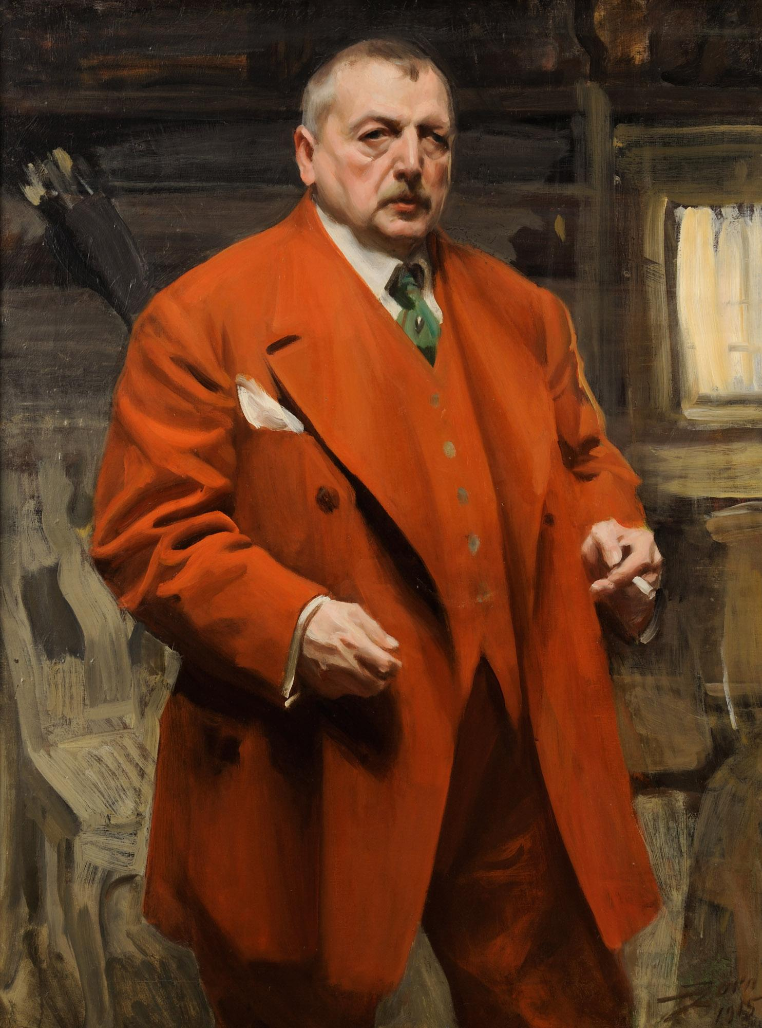 This Self Portrait in Red (oil on canvas), by Anders Zorn, is from 1915. – © Zorn Museum