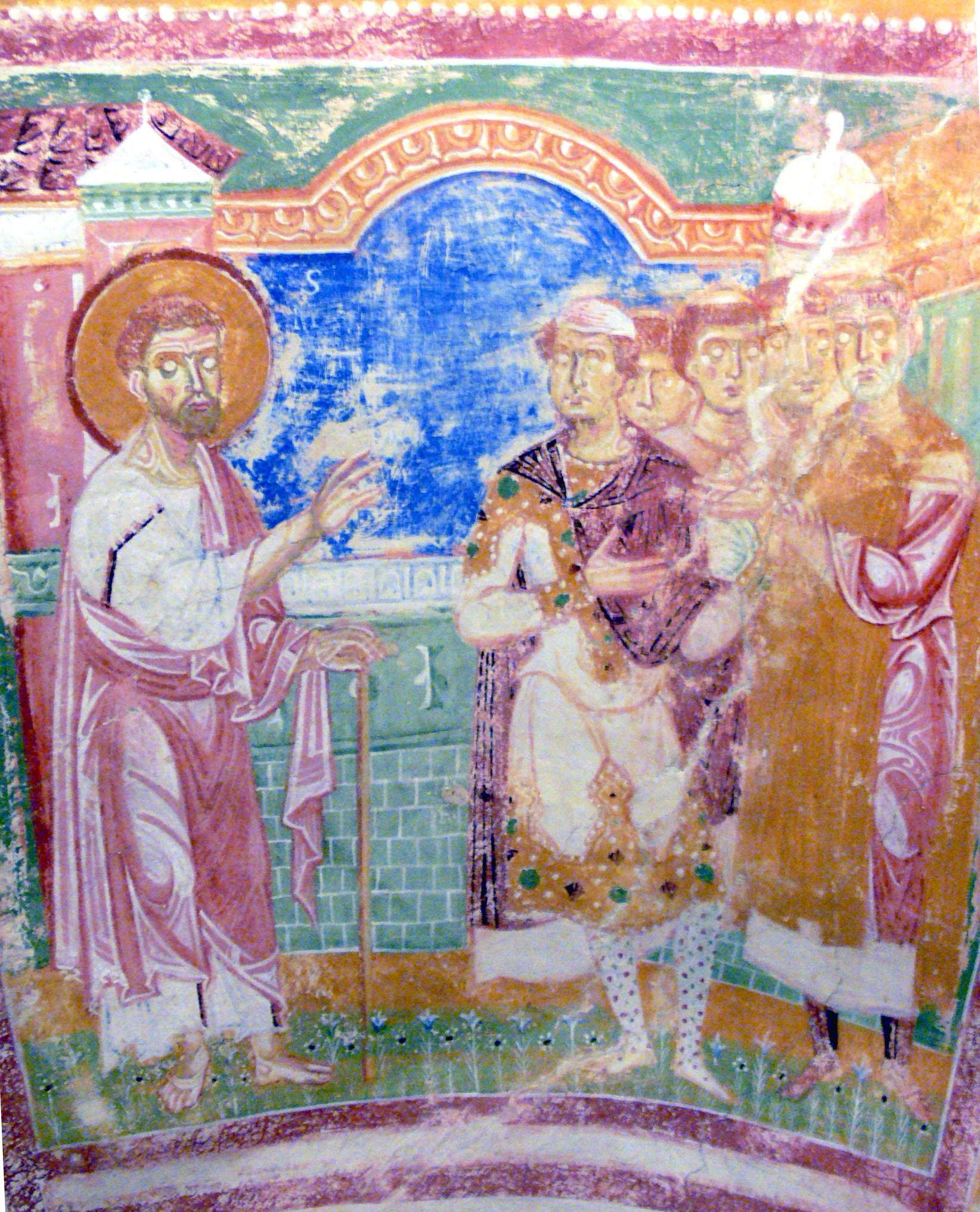 Fresco in the Basilica di Santa Maria Assunta depicting the inhabitants of Aquileia introducing their bishop Hermagoras to Saint Mark (circa 1180). – © Photograph by Wolfgang Sauber / Wikimedia