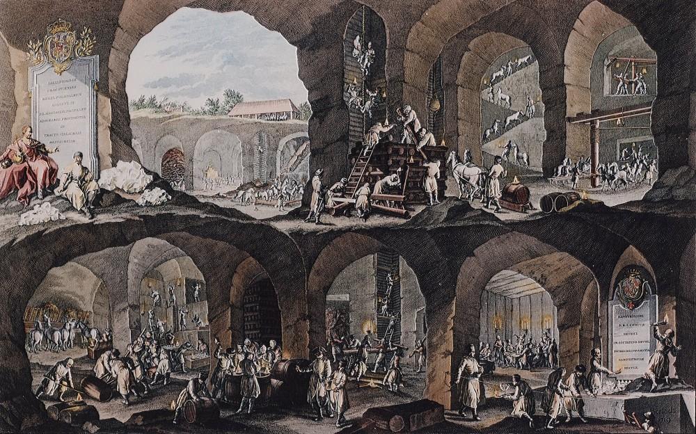 La coupe transversale de la mine de sel de Wieliczka, réalisée par Johann Borlach en 1719, présente les travaux les plus importants des mineurs de Wieliczka. L'image est une excellente source d'information pour les chercheurs retraçant l'histoire de la mine. – © Artur Grzybowski