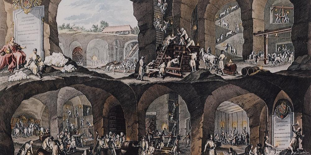Illustrated cross-section of the Wieliczka Salt Mine, made by Johann Borlach in 1719 presents the most important types of work of the Wieliczka miners. The image is an excellent source for the researchers examining the history of the mine. – © Artur Grzybowski