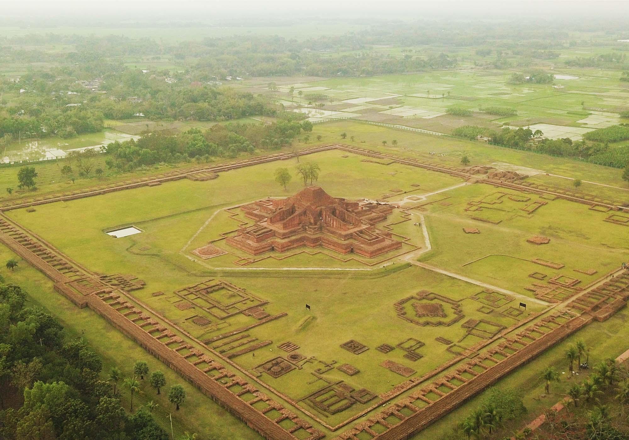 Aerial view of Paharpur Buddhist Monastery (Somapura Mahavihara), Bangladesh – © Peter Prix