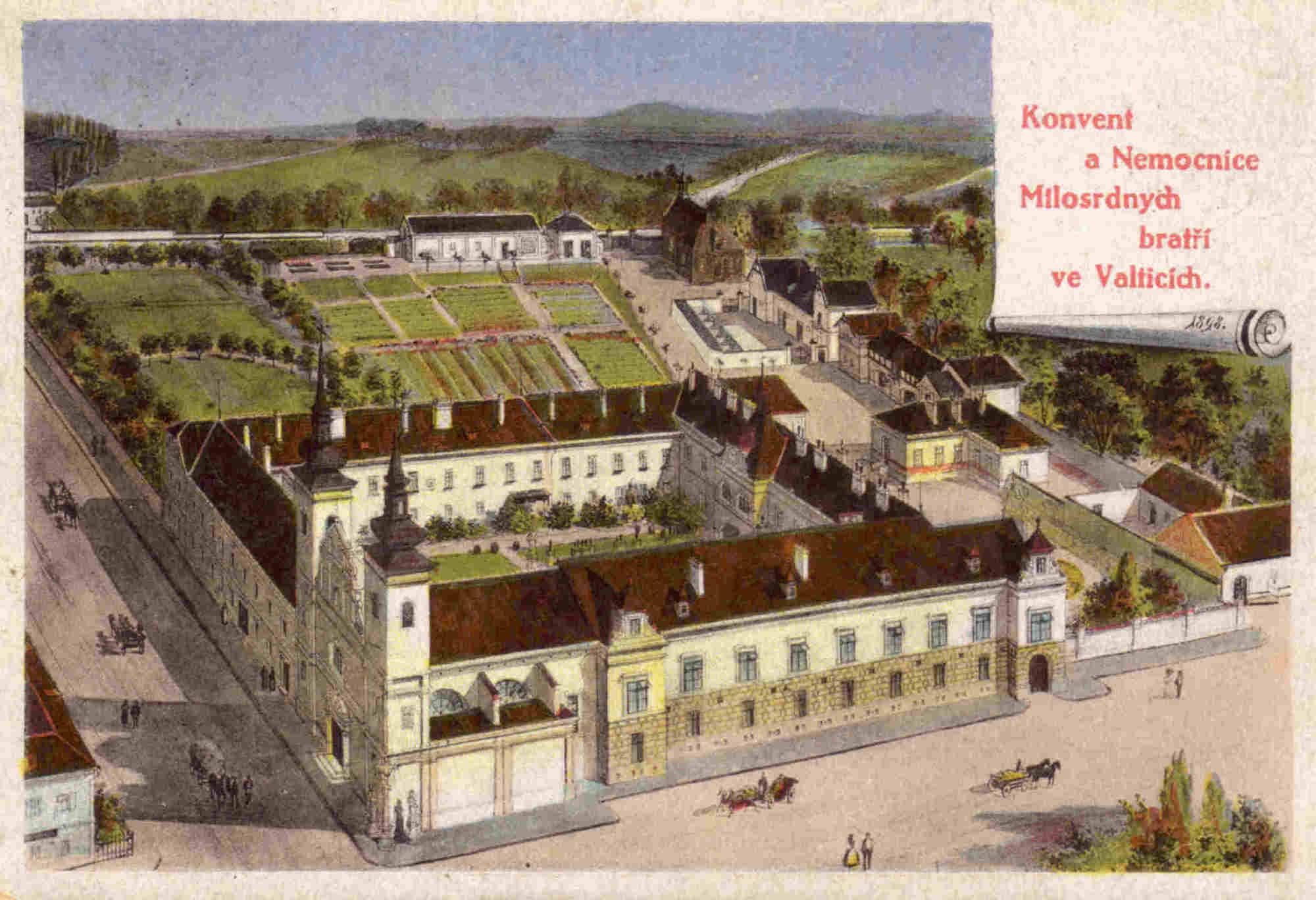 Postcard of the Order of the Merciful Brothers hospital in Valtice from the end of the 19th century. – © Archive of Valtice Castle