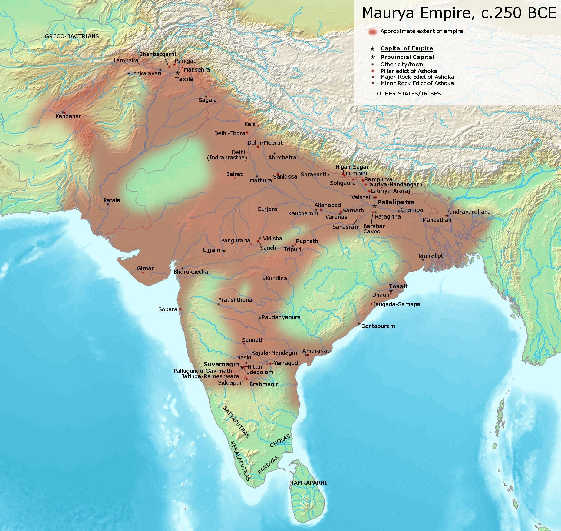 """This Map of the Mauryan Empire is based on the map provided on p. 69 of Kulke, H.; Rothermund, D. (2004), A History of India, 4th, Routledge. According to the authors, the empty areas within the boundaries of the empire were the """"autonomous and free tribes."""" – © Avantiputra7 / Wikimedia Foundation"""