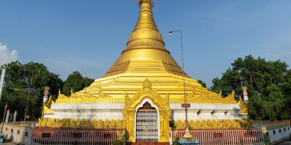 The design of the Myanmar Monastery in the East Monastic Zone of Lumbini is inspired by Shwedagon Pagoda in Yangon. – © Michael Turtle